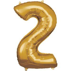 Balónik fóliový narodeninové číslo 2 zlatý 86cm