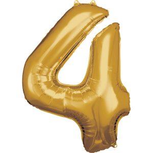 Balónik fóliový narodeninové číslo 4 zlatý 86cm