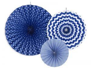 Dekoračné rozety námornícka modrá 3 ks
