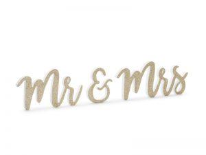 Drevená dekorácia - Mr & Mrs