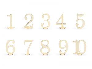 Drevené čísla na stôl 10 ks