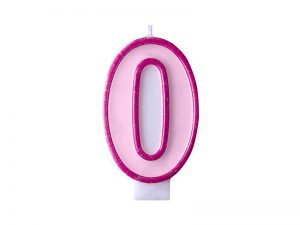 Narodeninová sviečka s číslom 0 ružová