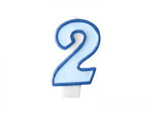 Narodeninová sviečka s číslom 2 modrá