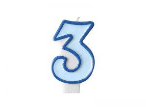 Narodeninová sviečka s číslom 3 modrá
