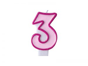 Narodeninová sviečka s číslom 3 ružová