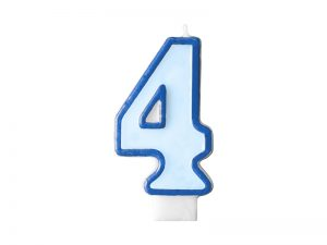 Narodeninová sviečka s číslom 4 modrá