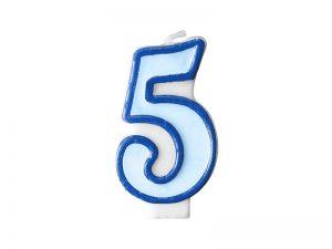 Narodeninová sviečka s číslom 5 modrá