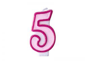 Narodeninová sviečka s číslom 5 ružová