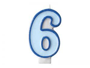 Narodeninová sviečka s číslom 6 modrá