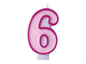 Narodeninová sviečka s číslom 6 ružová