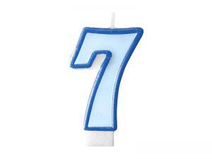Narodeninová sviečka s číslom 7 modrá