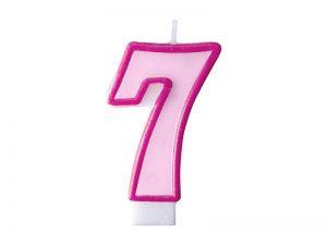 Narodeninová sviečka s číslom 7 ružová