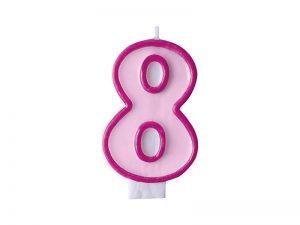 Narodeninová sviečka s číslom 8 ružová