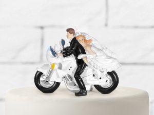 Ozdoba na tortu - Novomanželia na motorke