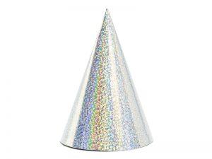 Párty klobúčiky - holografické strieborné 6 ks