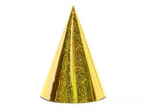 Párty klobúčiky - holografické zlaté 6 ks