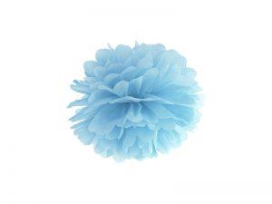 Pompom v tvare kvetu hmlistý modrý 25 cm