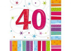 Servítky 40. šťastné narodeniny 33 x 33 16 ks