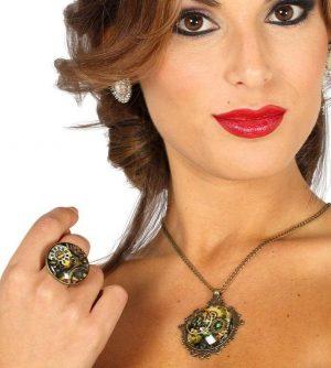 Set - náhrdelník a prsteň v štýle Steampunk