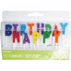 Sviečky Happy Birthday - farebné