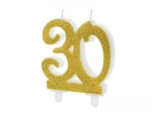 Tortová sviečka - zlatá 30