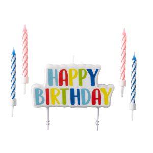 Set sviečok na tortu Happy Birthday 5 ks