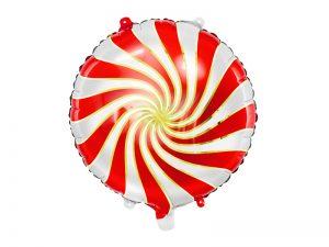 Fóliový balón červenobiely cukrík 35 cm