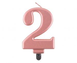 Narodeninová sviečka 2 ružovozlatá