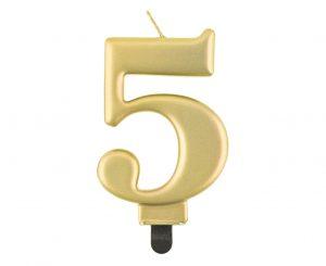 Narodeninová sviečka 5 metalická zlatá