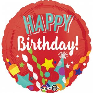 Fóliový balón - Happy Birthday červený