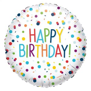 Fóliový balón Happy Birthday - konfety