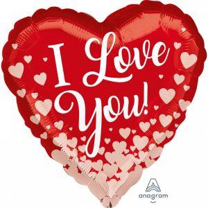 Fóliový balón - I love you ružovozlaté srdce