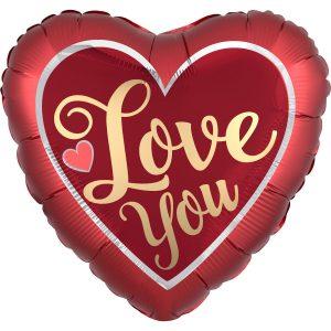 Fóliový balón - Saténové červené srdce Love You