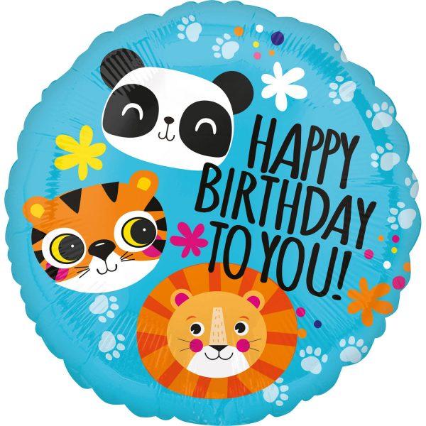 Fóliový balón - Zvieratká Happy Birthday To You