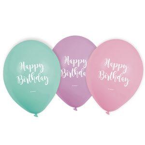 Latexové balóny Happy Birthday pastelové 6 ks