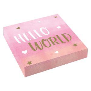 Servítky Hello World - ružové 33 x 33 cm