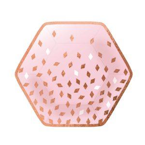 Taniere ružovo-zlaté narodeniny 8 ks 23 cm