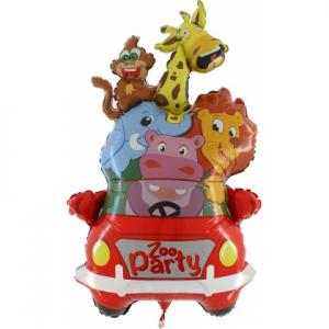 Fóliový balón - Auto so zvieratkami Zoo Party