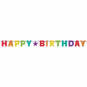 Banner Happy Birthday - dúhový