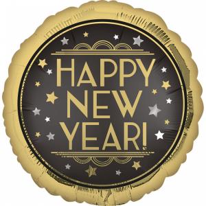 Fóliový balón - Happy New Year vintage satén