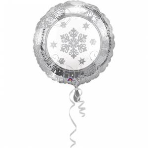 Fóliový balón - Kruh so striebornou vločkou
