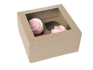 House of Marie Dekoračné krabice na muffiny a cupcakes - kraft 2 ks