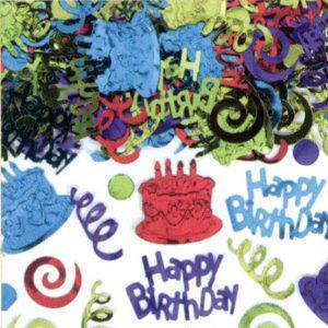Konfety - Happy Birthday fóliové  farebné 70 g
