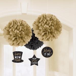 Visiaca dekorácia s pompomami - Happy New Year